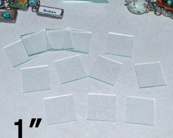 30 Pack 1 Inch Squares - Clear Memory Pendant Glass for Collage Altered Art Soldered Jewelry (( 1 x 1 inch glass ))