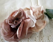 Vintage Pink Brown Champagne Millinery Flowers with Velvet and Satin Petals