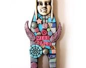Miss World. (OOAK Original Handmade Mixed Media Mosaic Art Doll by Shawn DuBois)
