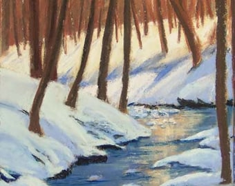 Winter Creek pastel painting 12x6 inches FREE SHIPPING