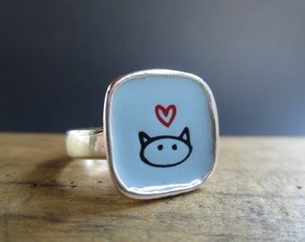 Cat Ring - Sterling Silver and Vitreous Enamel with Original Cat Drawing