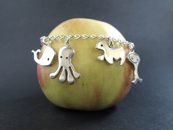 Under the Sea Charm Bracelet - Sterling Silver Charm Bracelet with Whale, Octopus, Seal, and Fish Charms