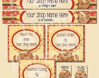 Premade Etsy Banner Set - Etsy Banner Set Design - Etsy Shop Banner - SHOP ICON - Shop Profile Photo - Cute Seasonal Gingerbread Girl