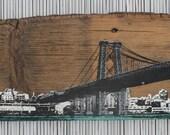 Brooklyn Skyline - Williamsburg Bridge Wall Hanging on Reclaimed Barn Wood