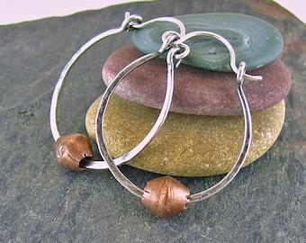 Mixed Metal Jewelry Sterling Silver Hoop Earrings Rustic Jewelry Handmade Hinged Hoops Recycled Silver 1 Inch Small Hoops Boho Jewelry
