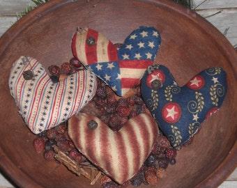 Set of 4 - Primitive - Patriotic - Rustic - USA - July 4th - Americana - Patriotic - Assorted Hearts - Bowl Fillers - Ornies - Tucks -