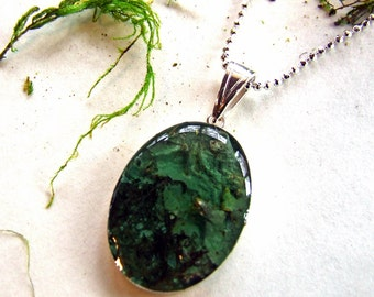 LICHEN and MOSS Necklace, Handmade Sterling Silver and Resin, Large Oval Pendant, Nature Woodland Jewelry from the Captured Collection