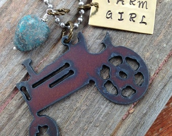 FARM GIRL Rustic Recycled Metal Tractor Necklace with Handstamped Tag and Turquoise Stone