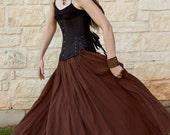 Brown Cotton Gauze Long Renaissance Skirt