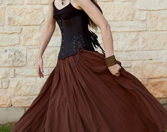 Brown Cotton Gauze Renaissance Skirt - Adult Halloween Costume - Womens Renaissance Clothing - Medieval Costume - Ren Faire Garb - SCA LARP