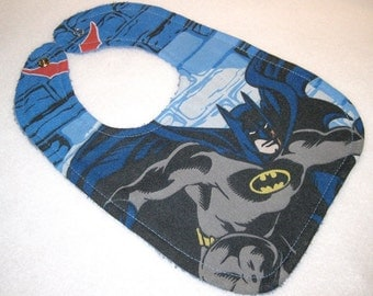 Batman baby bib themed one size fits all retro upcycled fabric shower gift inspired