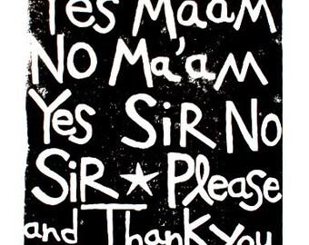 """manners linoleum block print - 11""""x14"""" wall art"""