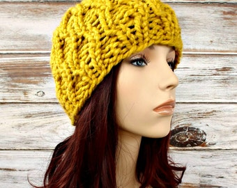 Yellow Cable Beanie Womens Hat - Amsterdam Cable Beanie Citron Yellow Knit Hat - Yellow Hat Yellow Beanie Womens Accessories Winter Hat