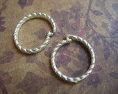 Snap Rings Silver Plated Twisted Large Locking Jump Rings 12mm lot of 2