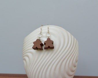 Brown mini Carcassonne meeple earrings with silver earwire