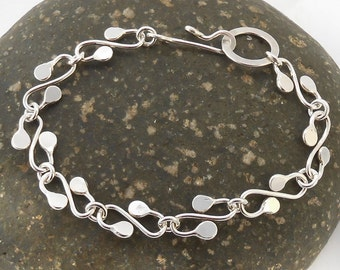 Abstract Leaves Bracelet  Sterling Torched Hammered Curvy Chain 8.25 Inches (21cm) Elf Link Garland