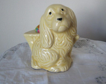 Cocker Spaniel Vintage Dog Planter Pincushion Yellow Pottery Basketweave