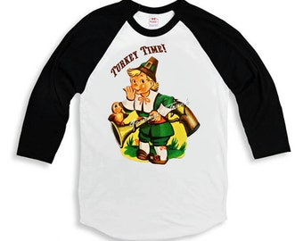 "Boy Thanksgiving Shirt ""Turkey Time"" Tee Baseball Custom Size Vintage Retro Infant to Youth Sizes"