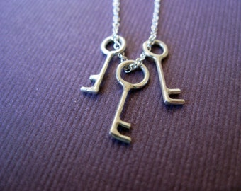Three Keys Necklace.  Mother's Necklace. Sterling Silver.