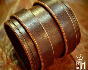 """Leather cuff bracelet Double strap 3"""" rich deep brown distressed bridle Leather custom made for you in NYC by Freddie Matara"""