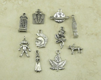 10 Doctor Who Themed Charm Mix Pack > Dr Who BBC TV The Doctor Tardis Raw Unfinished American Made Lead Free Pewter Silver International