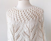 Women's Fashion - Elegant Cotton and Silk Knit Capelet - Ivory White - Lovely for Brides Weddings