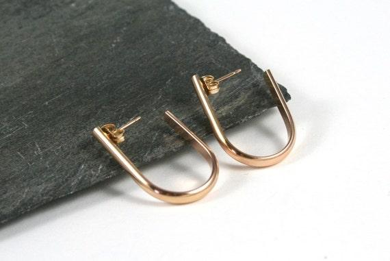 14K Gold Fill Post Hoop Oval Earrings