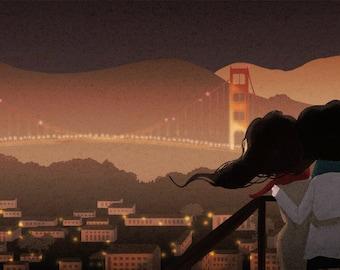 "San Francisco city night, SF, Golden Gate Bridge, blank greeting card - ""City lights"""