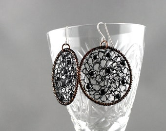 Big round mesh earrings. Large hoops. Circles earrings. Dangle big earrings. Fashion jewelry with black spinel