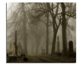 Fog In Graveyard, Halloween Art Image, Dark, Misty, Creepy, Night Fog, Dark And Spooky, Gothic - The Road