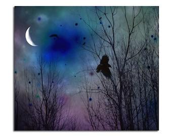 Crows At Night, Surreal Night, Crescent Moon, Deep Dark Blue Art,Blackbird, Raven Photograph,Gothic Image - Just Around Midnight