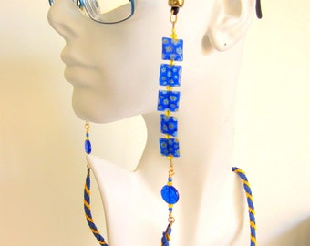 Hand Braided and Beaded Women Eye Glass Lanyard / Holder / Chain / Leash - Blue and gold