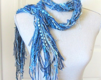 Women Long Fashion Knot Scarf with Beads - Blue