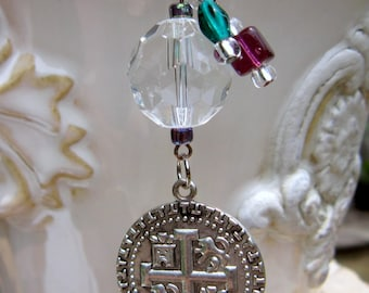 Rearview Mirror Jewelry Charm Car Feng Shui Green Doubloon Coin