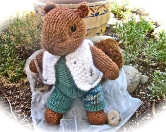 Knit Stuffed Animal, Squirrel Doll, Hand Knit and Embroidered/ Eli,  Little Chatterbox/One of a Kind Heirloom Collectible