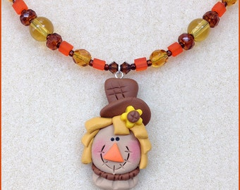 Sammy Scarecrow Thanksgiving Necklace for Kids