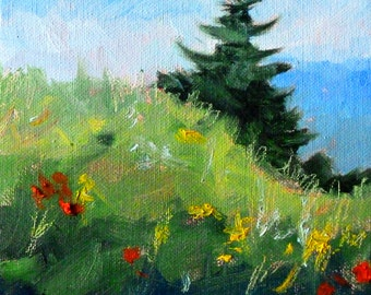 Landscape Oil Painting, Original Field, Tree, Meadow Scene, 6x6 Stretched Canvas, Evergreen, Flowers, Small Rural Landscape, Wall Decor