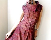 La Frontera  - iheartfink Handmade Hand Printed Womens Sleeveless Metallic Dark Red Asymmetric Jersey Cowl Dress