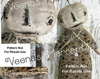 Standing Pumpkin Primitive Doll Pattern INSTANT Download PDF Digital Halloween Patterns Sewing Fabric Cloth Early Prim Kim Kohler