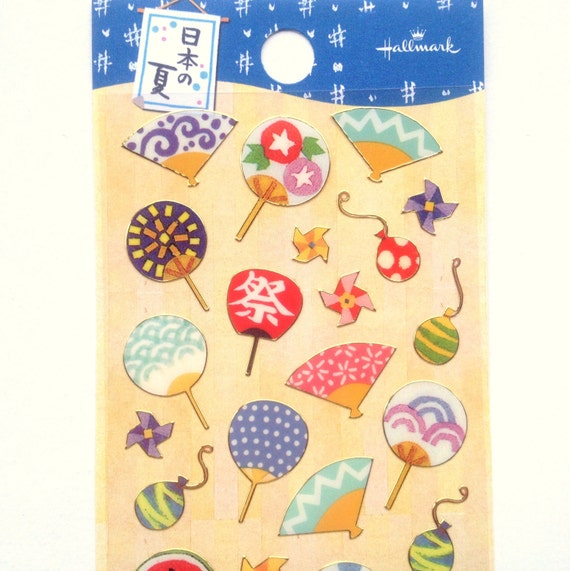 Japanese Stickers Hand Fans in Summer Festival (S239)