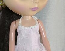 Blythe  Outfit Pink Halter Top Dress with Hi Lo Hem Crochet Trim