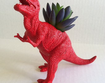 Jurassic Red Dinosaur Planter for Succulent Plants Fun Office Decor