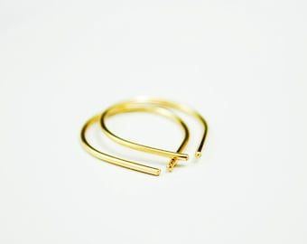 Simple Small Everyday 14k Gold Filled Arc Earring, Gold Hoop Earrings