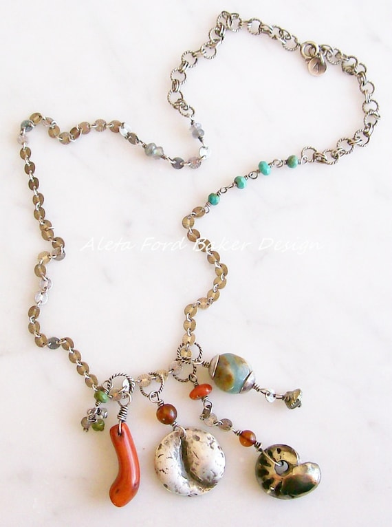 Layering Necklace of Sterling Silver Chains, Natural Shape Pendants, Talisman Jewelry