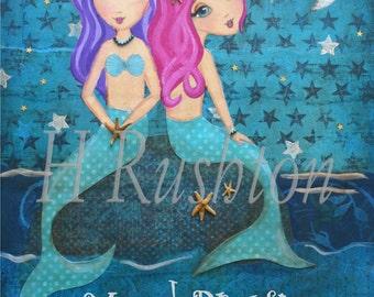 Mermaid Dreams -Mermaid Art for Children - Mermaid Decor- Giclee Fine Art Print- 8x10 and 5x7