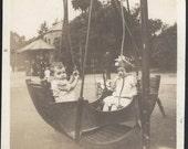 vintage photo Children at Park in Unusual Double Swing Ride Rocker Swing