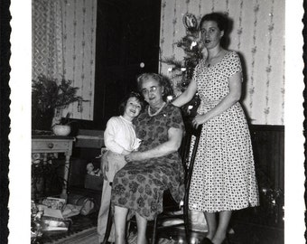 Vintage Snapshot photo Julie Christmas Tree Packages Mom Grandama 1956