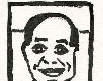 Ink drawing of a man / portrait of a  man / Avatar series / JIM //  postcard  archival ink  ooak