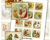 "Classic Fairy Tales 2"" square inchies digital collage sheet Red Riding Hood Cinderella etc 2x2 50mm"