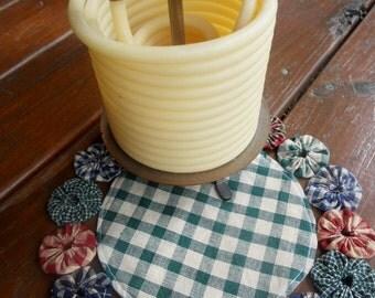 "Primitive Candle Mat YoYo Homespun Wholesale 10"" Penny Rug Coffee Tea Mug Mat  Doily Yo Quilt Rustic Decor Cabin"